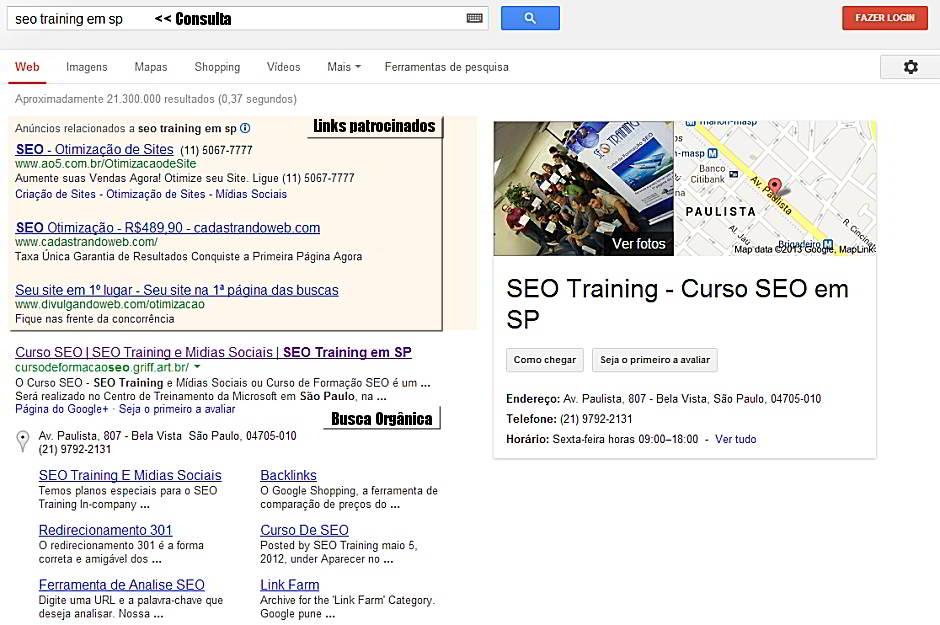 Busca Orgânica - 1ª página do Google