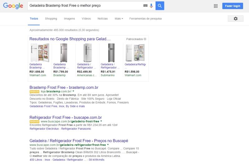 Pesquisa Google - Geladeira Brastemp Frost Free o melhor preço