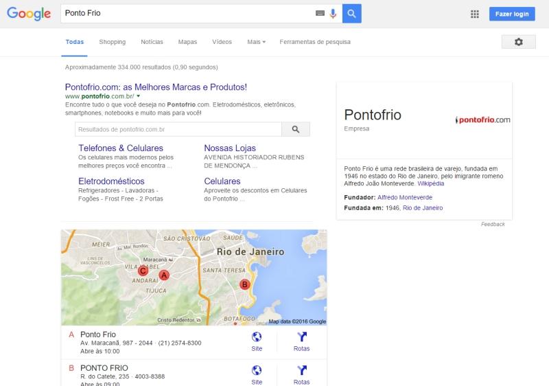 Pesquisa Google - Ponto Frio